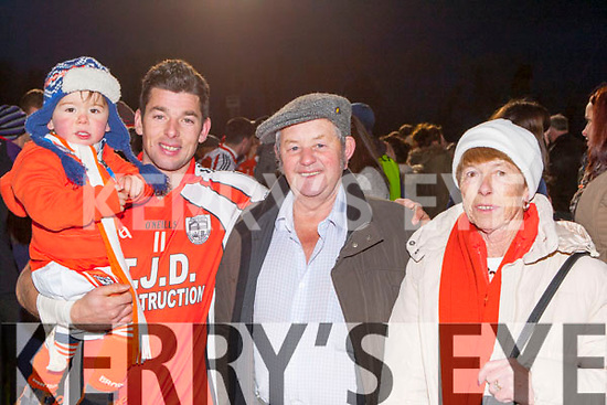 Timmy Finnegan, Conor Kiely and Thomas Fitzgerald celebrate after they won the Munster Junior final against Glin in Mallow on Sunday