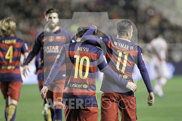 FC Barcelona's Leo Messi (l) and Neymar Jr celebrate goal during La Liga match. March 3,2016. (ALTERPHOTOS/Acero)