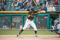 Kyle Kubitza (10) \of the Salt Lake Bees at bat against the Tacoma Rainiers in Pacific Coast League action at Smith's Ballpark on May 7, 2015 in Salt Lake City, Utah.  (Stephen Smith/Four Seam Images)
