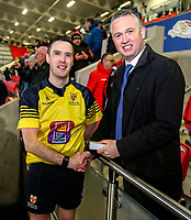 Friday 8th February 2019 | First Trust Ulster Senior Cup Final<br /> <br /> Referee Oisin Quinn is presented with his medal by James Beattie representing the First Trust Bank after the First Trust Ulster Senior Cup Final between Armagh and Ballymena at Kingspan Stadium, Ravenhill Park, Belfast, Northern Ireland. Photo by John Dickson / DICKSONDIGITAL