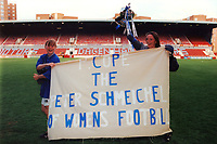 Danielle Murphy (L) and Pauline Cope of Millwall celebrate winning the Cup during Millwall Lionesses vs Wembley, FA Women's Cup Final Football at the New Den, Millwall FC on 4th May 1997