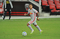 WASHINGTON, DC - SEPTEMBER 12: Kaku #10 of New York Red Bulls moves the ball during a game between New York Red Bulls and D.C. United at Audi Field on September 12, 2020 in Washington, DC.