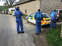 Pictured: Police at the farmhouse they are searching in relation to the disappearance of Hollie Kerrell in Knighton, Powys, Wales, UK. Thursday 26 April 2018<br /> Re: Christopher Kerrell, 35 has appeared before a judge at Cardiff Crown Court, charged with murdering Hollie Kerrell, a mother of three who had been missing for four days at Knighton, mid Wales, UK.<br /> Kerrell, who lives at the Whitton area, Knighton, Powys, was charged with killing Hollie Kerrell, 28, when he appeared before Merthyr Magistrates on Sunday.<br /> <br /> The body of Ms Kerrell, also of Knighton, was discovered at a farm four days after her disappearance.