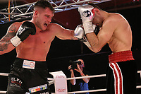 19th December 2020, Hamburg, Germany; Universal Boxing Promotion fight, Felix Sturm versus Timo Rost; Left cross from Sturm