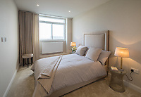 BNPS.co.uk (01202 558833)<br /> Picture: Savills/BNPS<br /> <br /> Pictured: The bedroom.<br /> <br /> HOWZAT for a view?<br /> <br /> A luxury flat that has grandstand views of Lords cricket ground has gone on the market for £2.72m.<br /> <br /> The two-bed apartment is on the 11th floor of a building next to the 'home of cricket'.<br /> <br /> From the balcony, there are uninterrupted views of the cricket pitch.
