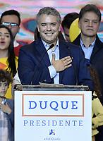 BOGOTA - COLOMBIA, 27-05-2018: Ivan Duque, candidato presidencial por le partido Centro Democrático durante su alocución al finalizar la jornada electoral hoy, 27 de mayo de 2018. Las elecciones presidenciales de Colombia de 2018 se celebrarán el domingo 27 de mayo de 2018. El candidato ganador gobernará por un periodo máximo de 4 años fijado entre el 7 de agosto de 2018 y el 7 de agosto de 2022. / Ivan Duque, presidential candidate for the Centro Democratico party, during his speech after the election day today, May 27, 2018. Colombia's 2018 presidential election will be held on Sunday, May 27, 2018. The winning candidate will govern for a maximum period of 4 years fixed between August 7, 2018 and August 7, 2022.. Photo: VizzorImage / Gabriel Aponte / Staff