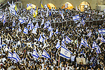 © Joel Goodman - 07973 332324 . 05/06/2016 . Jerusalem , Israel . Thousands of Jews in front of the Western Wall . Israeli Jews celebrate Jerusalem Day . Photo credit : Joel Goodman