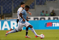 Calcio, Serie A: Lazio vs Udinese. Roma, stadio Olimpico, 13 settembre 2015.<br /> Lazio's Keita Diao, right, is challenged by Udinese's Panagiotis Kone during the Italian Serie A football match between Lazio and Udinese at Rome's Olympic stadium, 13 September 2015.<br /> UPDATE IMAGES PRESS/Isabella Bonotto