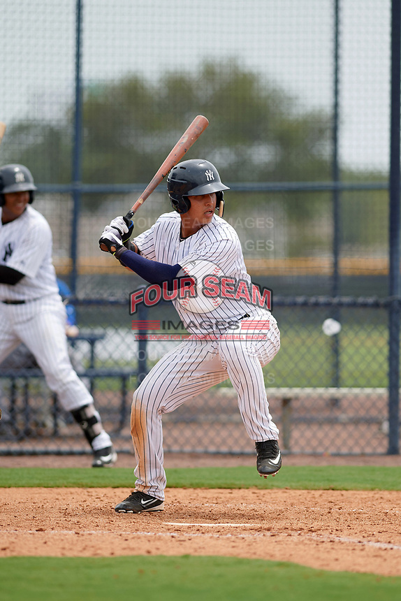 GCL Yankees East Jhon Moronta (57) at bat during the second game of a doubleheader against the GCL Blue Jays on July 24, 2017 at the Yankees Minor League Complex in Tampa, Florida.  GCL Yankees East defeated the GCL Blue Jays 7-3.  (Mike Janes/Four Seam Images)