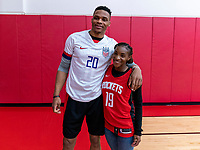 HOUSTON, TX - FEBRUARY 1: Russell Westbrook of the Houston Rockets poses with Crystal Dunn #19 of the United States at Houston Rockets Training Center on February 1, 2020 in Houston, Texas.