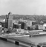 Pittsburgh PA:  View of Pittsburgh's uptown with Smithfield Street in the foreground.