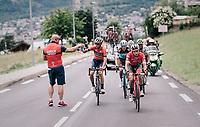 Vincenzo Nibali (ITA/Bahrain-Merida) catching a bidon<br /> <br /> Stage 6: Frontenex > La Rosière Espace San Bernardo (110km)<br /> 70th Critérium du Dauphiné 2018 (2.UWT)