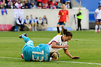 HARRISON, NJ - MARCH 08: Sandra Panos #13 of Spain and Carli Lloyd #10 of the United States collide while going for a ball during a game between Spain and USWNT at Red Bull Arena on March 08, 2020 in Harrison, New Jersey.
