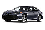 Stock pictures of low aggressive front three quarter view of a 2019 Toyota Camry XLE Hybrid 4 Door Sedan
