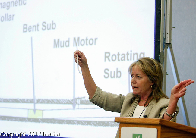 SPEARFISH, SD - MAY 2: Kathy Neset, President of Neset Consulting Service, Inc., describes horizontal drilling and 'fracking' to attendees at the 2012 Black Hills Bakken Conference at the Spearfish Holiday Inn Convention Center Wednesday. (Photo by Dick Carlson/Inertia)