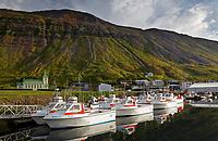 Fishing boats at dock in Sudureyri below Ufsir mountain, West Iceland, Iceland