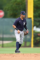New York Yankees second baseman Jose Colmenares (12) during an Extended Spring Training game against the Philadelphia Phillies on June 22, 2021 at the Carpenter Complex in Clearwater, Florida. (Mike Janes/Four Seam Images)