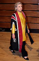 Pictured: Hillary Clinton enters the great hall at Swansea University Bay Campus. Saturday 14 October 2017<br />