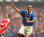 Rod Wallace scores against Aberdeen at Ibrox, 1998
