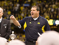 Michigan head coach Brady Hoke celebrates after winning Sugar Bowl game against Virginia Tech at Mercedes-Benz SuperDome in New Orleans, Louisiana on January 3rd, 2012.  Michigan defeated Virginia Tech, 23-20 in first overtime.