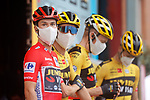 Race leader Red Jersey Primoz Poglic (SLO) and Team Jumbo-Visma at sign on before the start of Stage 12 of the Vuelta Espana 2020 running 109.4km from Pola de Laviana to Alto de l'Angliru, Spain. 1st November 2020..    <br /> Picture: Luis Angel Gomez/PhotoSportGomez | Cyclefile<br /> <br /> All photos usage must carry mandatory copyright credit (© Cyclefile | Luis Angel Gomez/PhotoSportGomez)