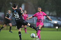 Osma Magaly Guiteras (28) of Woluwe and Jessica Valdebenito Silva (18) of Charleroi  pictured during a female soccer game between Sporting Charleroi and White Star Woluwe on the 7 th matchday in play off 2 of the 2020 - 2021 season of Belgian Scooore Womens Super League , friday 14 th of May 2021  in Marcinelle , Belgium . PHOTO SPORTPIX.BE | SPP | Sevil Oktem
