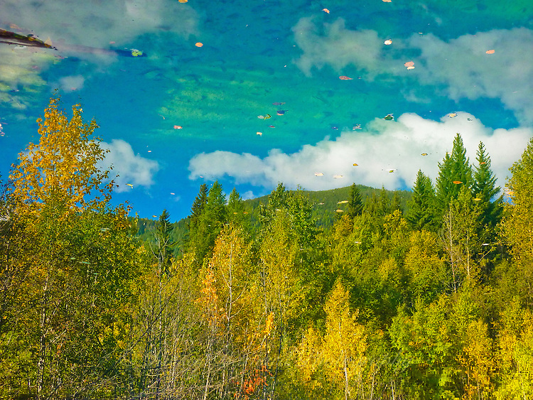"""""""AUTUMN IMPRESSION""""<br /> <br /> A rocky mountain scene of aspen and cootonwoods in fall color mountains and forest azure skies and white billowy clouds as reflected in a mountain pond. ORIGINAL 24 X 36 GALLERY WRAPPED CANVAS SIGNED BY THE ARTIST $2,500. CONTACT FOR AVAILABILITY."""