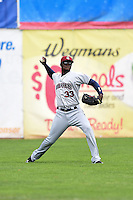 Mahoning Valley Scrappers outfielder Jorge Martinez (33) throws the ball in during a game against the Jamestown Jammers on June 16, 2014 at Russell Diethrick Park in Jamestown, New York.  Mahoning Valley defeated Jamestown 2-1.  (Mike Janes/Four Seam Images)