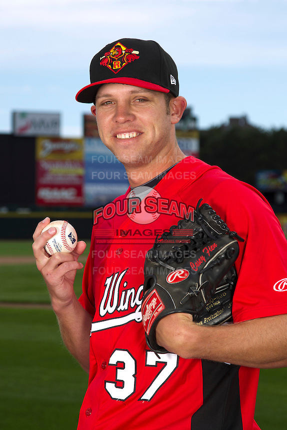 Rochester Red Wings pitcher Casey Fien #37 poses for a photo during media day at Frontier Field on April 3, 2012 in Rochester, New York.  (Mike Janes/Four Seam Images)