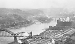 Pittsburgh PA:  View of the Strip District Railroad yards, 16th Street Bridge, North Side Heinz Plant, and Herr's Island taken from the new Kopper's Building.