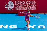 Kristina Kucova of Slovakia competes against Dayana Yastremska of Ukraine during the singles quarter final match at the WTA Prudential Hong Kong Tennis Open 2018 at the Victoria Park Tennis Stadium on 12 October 2018 in Hong Kong, Hong Kong.