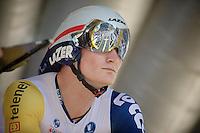 André Greipel (DEU) focused on the TT start podium<br /> <br /> Tour de France 2013<br /> stage 11: iTT Avranches - Mont Saint-Michel <br /> 33km