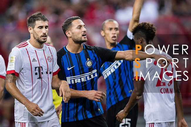 FC Internazionale Defender Danilo D'Ambrosio (C) gestures during the International Champions Cup match between FC Bayern and FC Internazionale at National Stadium on July 27, 2017 in Singapore. Photo by Marcio Rodrigo Machado / Power Sport Images