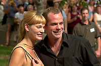 July 25, 2001 - Montreal, Quebec, CANADA - GAROU and  wife arrive at the baptism of Celine Dion son held at Notre-Dame basilica