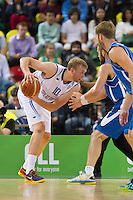 20 AUG 2014 - LONDON, GBR - Dan Clark (GBR) (left) from Great Britain looks for a way past the Iceland defence during their men's 2015 EuroBasket 3rd Qualifying Round game at the Copper Box Arena in the Queen Elizabeth Olympic Park in Stratford, London, Great Britain (PHOTO COPYRIGHT © 2014 NIGEL FARROW, ALL RIGHTS RESERVED)