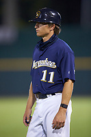 Milwaukee Brewers scout Trey Blankmeyer coaches first base during the East Coast Pro Showcase at the Hoover Met Complex on August 2, 2020 in Hoover, AL. (Brian Westerholt/Four Seam Images)