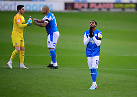 Peterborough United's Reece Brown says a prayer prior to kick off<br /> <br /> Photographer Chris Vaughan/CameraSport<br /> <br /> The EFL Sky Bet League One - Peterborough United v Blackpool - Saturday 21st November 2020 - London Road Stadium - Peterborough<br /> <br /> World Copyright © 2020 CameraSport. All rights reserved. 43 Linden Ave. Countesthorpe. Leicester. England. LE8 5PG - Tel: +44 (0) 116 277 4147 - admin@camerasport.com - www.camerasport.com
