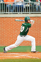 Nicholas Daddio (20) of the Charlotte 49ers follows through on his swing against the Virginia Commonwealth Rams at Robert and Mariam Hayes Stadium on March 30, 2013 in Charlotte, North Carolina.  The 49ers defeated the Rams 9-8 in game one of a double-header.  (Brian Westerholt/Four Seam Images)