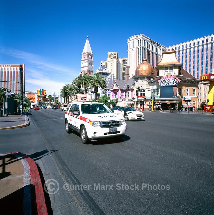 The Strip, (Las Vegas Boulevard), Las Vegas, Nevada, USA - Palazzo Las Vegas Resort Hotel to the left and Venetian Las Vegas Casino, Hotel & Resort to the right