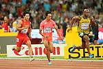 (L to R) <br /> Bingtian Su (CHN), <br /> Kei Takase (JPN), <br /> Asafa Powell (JAM), <br /> AUGUST 22, 2015 - Athletics : <br /> 15th IAAF World Championships in Athletics Beijing 2015 <br /> Men's 100m Heats <br /> at Beijing National Stadium in Beijing, China. <br /> (Photo by YUTAKA/AFLO SPORT)