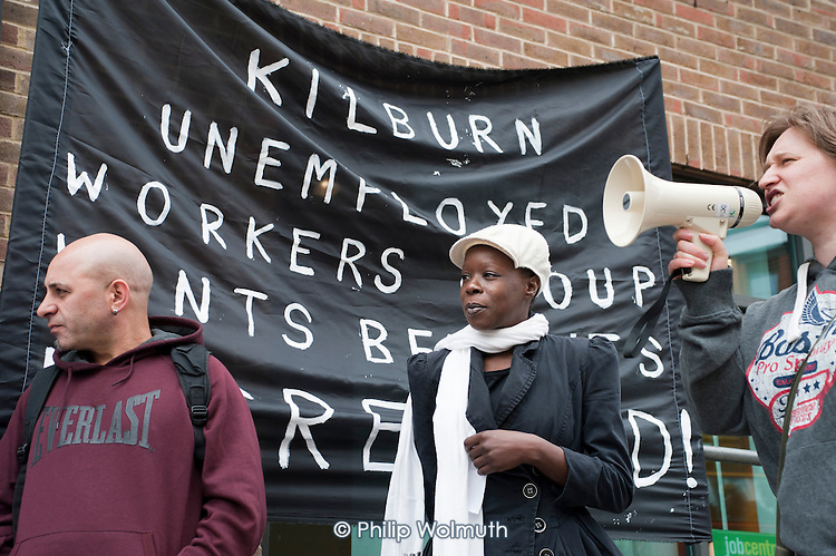 Kilburn Unemployed Workers Group demonstrate outside the local JobCentrePlus over benefit cuts resulting from discretionary sanctions on Jobseekers Allowance claimants.