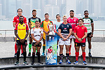 All 28 Men's captains from the Cathay Pacific/HSBC Hong Kong Sevens 2017 pose for photos against Hong Kong Island skyline, prior to the HSBC Hong Kong Rugby Sevens 2017 on 05 April 2017 in Tsim Sha Tsui, Hong Kong, China. Photo by Marcio Rodrigo Machado / Power Sport Images