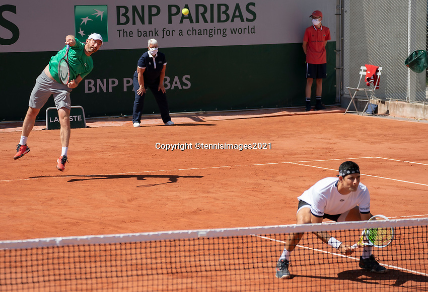 Paris, France, 1 june 2021, Tennis, French Open, Roland Garros, First round doubles match:  Arevalo and Matwe Middelkoop (L) (NED) <br /> Photo: tennisimages.com