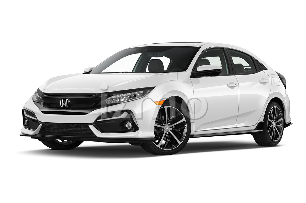 Stock pictures of low aggressive front three quarter view of 2020 Honda Civic-Hatchback Sport-Touring 5 Door Hatchback Low Aggressive