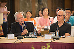Michael Douglas (left) and Michael Shamberg at the China Film Makers Forum on the sidelines of the World Celebrity Pro-Am 2016 Mission Hills China Golf Tournament on 21 October 2016, in Haikou, China. Photo by Marcio Machado / Power Sport Images