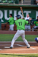 Joel Booker (11) of the Great Falls Voyagers at bat against the Ogden Raptors in Pioneer League action at Lindquist Field on August 16, 2016 in Ogden, Utah. Ogden defeated Great Falls 2-1. (Stephen Smith/Four Seam Images)