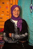 Morocco.  Amazigh Berber Woman, Ait Benhaddou Ksar, a World Heritage Site.