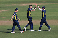 Scott Currie of Hampshire celebrates with his team mates after taking the wicket of Ryan ten Doeschate during Hampshire Hawks vs Essex Eagles, Royal London One-Day Cup Cricket at The Ageas Bowl on 22nd July 2021