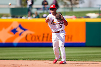 Jose Garcia (3) of the Springfield Cardinals throws to first during a game against the /f/ on April 16, 2011 at Hammons Field in Springfield, Missouri.  Photo By David Welker/Four Seam Images