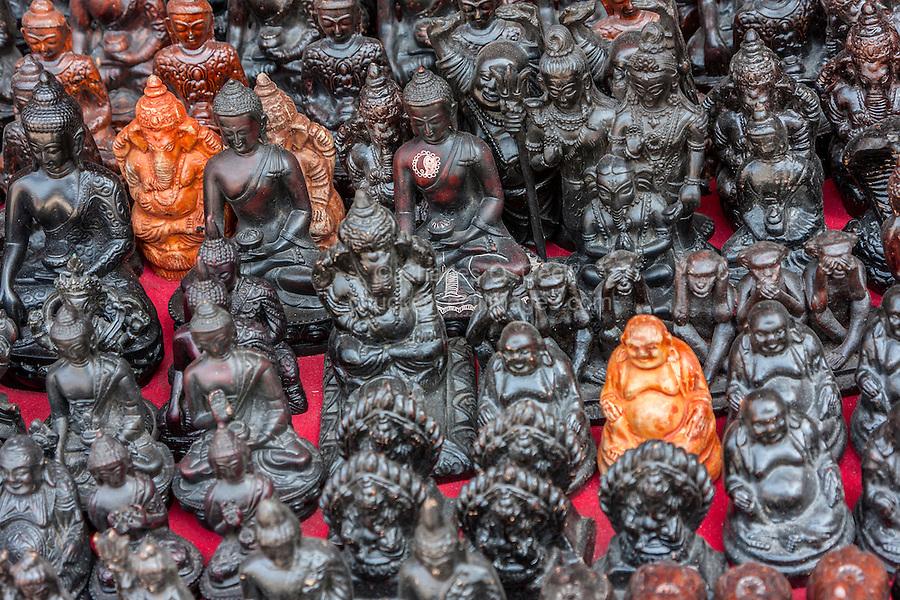 Bhaktapur, Nepal.  Hindu and Buddhist Deities for Sale.  Buddha, Ganesh.